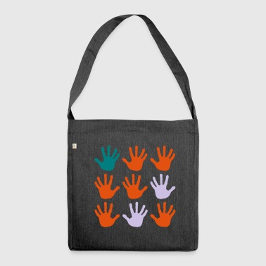 Finger Print hand prints - Shoulder Bag made from recycled material