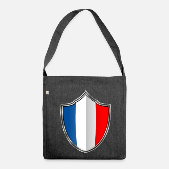 Home Country Bags & Backpacks - France flag crest silver 015 - Shoulder Bag recycled heather black