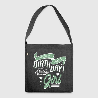Vintage Birthday Happy Birthday Girl - Bandolera de material reciclado