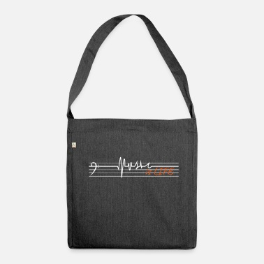 Music is life - bass clef - Shoulder Bag recycled