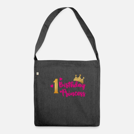 Birthday Bags & Backpacks - Birthday Princess 1st birthday girl gift - Shoulder Bag recycled heather black