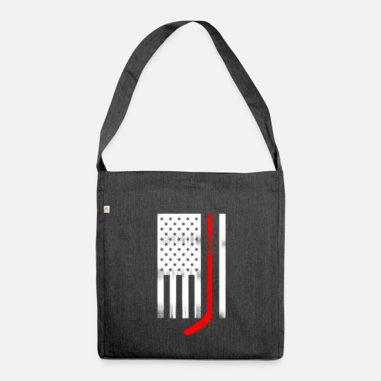 College Bags & Backpacks - USA Flag Red Hockey Stick - Shoulder Bag recycled heather black