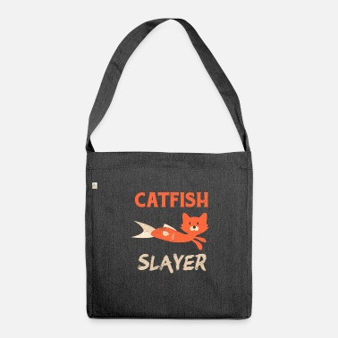 Fish Head Catfish Fishing Cat Head Fish Body Fisherman - Shoulder Bag made from recycled material