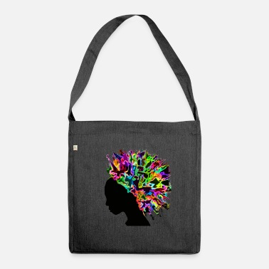 Afro Afro flowers Africa silhouette - Shoulder Bag made from recycled material