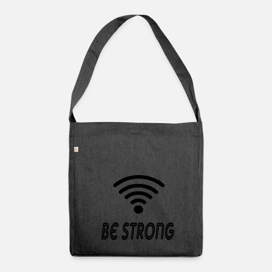Strong Bags & Backpacks - be strong - Shoulder Bag recycled heather black