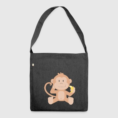 Affe mit Banane - Schultertasche aus Recycling-Material