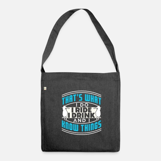 Humour Bags & Backpacks - That's What I Do I Ride A Horse And I Know Things - Shoulder Bag recycled heather black