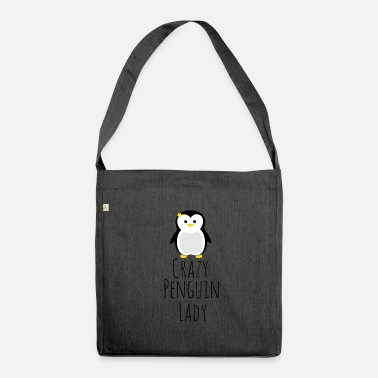 Crazy Crazy penguin lady - gift idea seabird - Shoulder Bag recycled