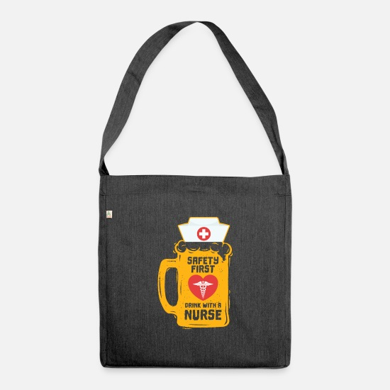 Alcohol Bags & Backpacks - Nurse midwife beer Funny gift - Shoulder Bag recycled heather black