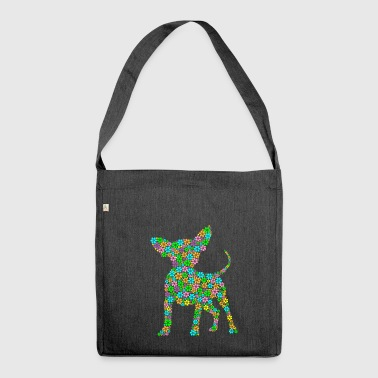 Chihuahua dog flowers gift - Shoulder Bag made from recycled material