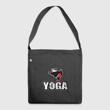 Dancing Yoga Bear Vintage Retro New Age - Schoudertas van gerecycled materiaal