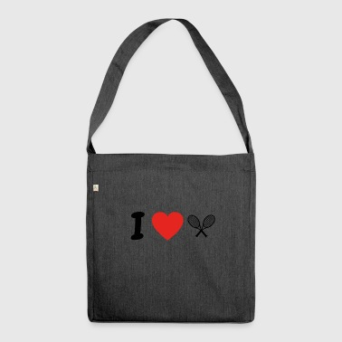 I love TENNIS png - Shoulder Bag made from recycled material