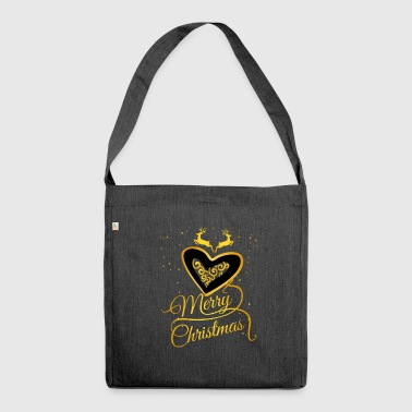 gold heart Glamour Christmas Xmas Moose star - Shoulder Bag made from recycled material