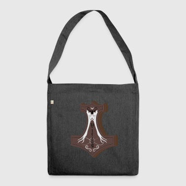 Viking head and thor hammer metal shirt - Shoulder Bag made from recycled material