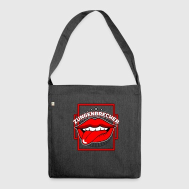Tongue twister mouth tongue - Shoulder Bag made from recycled material