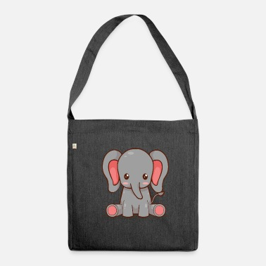 Drawstring Baby elephant - Shoulder Bag made from recycled material