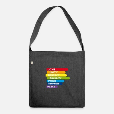 Gay Gay Love Unity Respect Pride Peace happiness csd l - Shoulder Bag made from recycled material