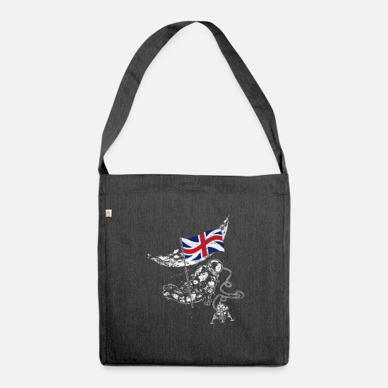 Moon Landing Bags & Backpacks - United Kingdom conquers space - Shoulder Bag recycled heather black
