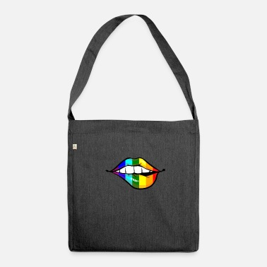 Gay Pride Lips LGTB Pride gay gay rainbow - Shoulder Bag made from recycled material