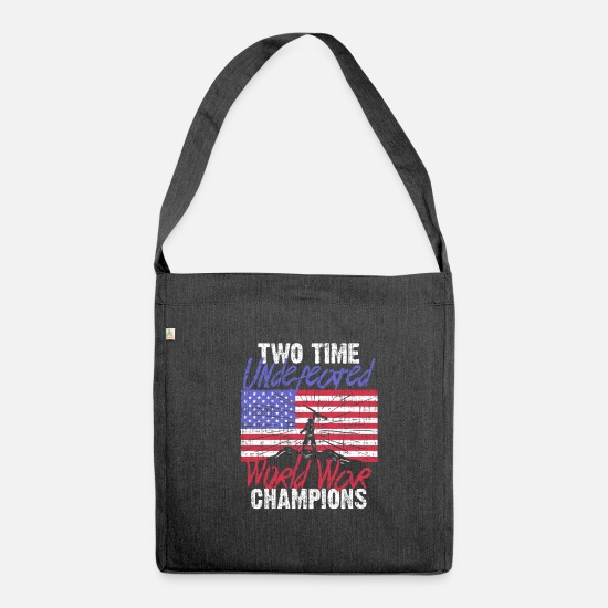 Gift Idea Bags & Backpacks - Retirement Twice undefeated World War II winner - Shoulder Bag recycled heather black