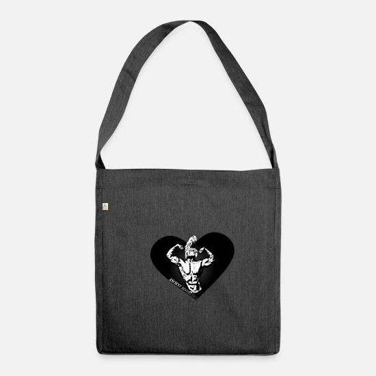 Aesthetic Bags & Backpacks - Ancient aesthetics black and white - Shoulder Bag recycled heather black