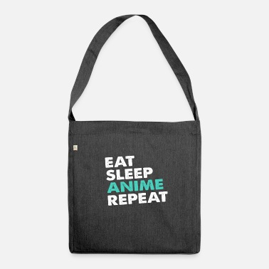 Anime eat sleep anime repeat - Schultertasche aus Recycling-Material