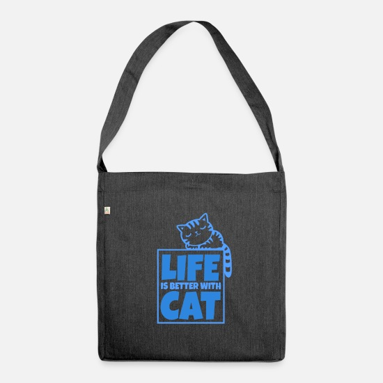 Gift Idea Bags & Backpacks - Domestic cat Cats meow gift paws - Shoulder Bag recycled heather black