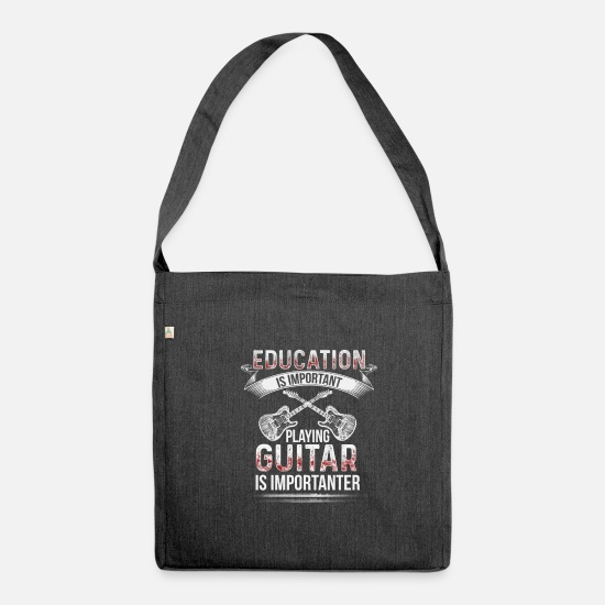 Birthday Bags & Backpacks - Guitar is Importante Electric Guitar Guitarist Bassist - Shoulder Bag recycled heather black