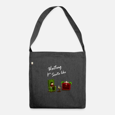 Waiting for Santa. Child is waiting for Santa Claus - Shoulder Bag recycled