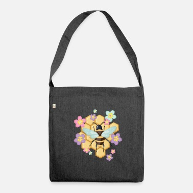Bee with honeycomb - Shoulder Bag made from recycled material