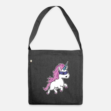 Pink Hair Unicorn with pink hair and blue horn - Shoulder Bag recycled