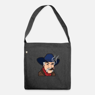 Strong American Man Bearded cowboy with hat and burning cigar - Shoulder Bag recycled