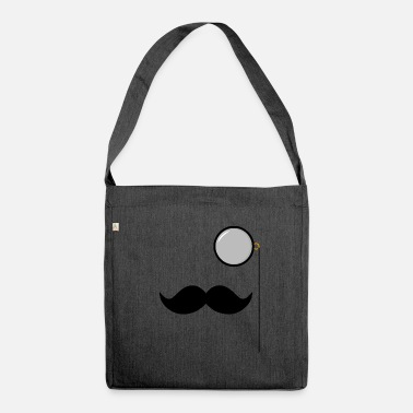 Monocle Mustache beard monocle - Shoulder Bag recycled