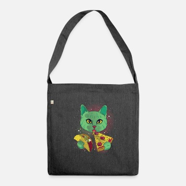 Kosmos Kosmo cat eats taco and pizza gift ideas - Shoulder Bag recycled