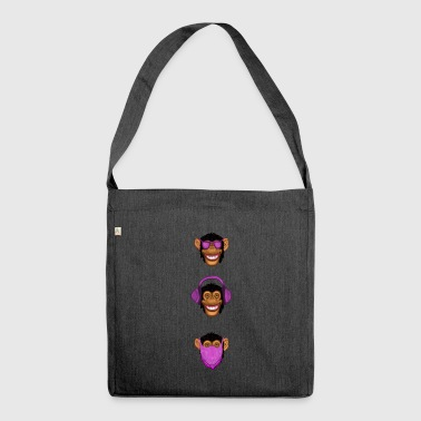 See No Evil Hear No Evil Speak No Evil Monkeys - Shoulder Bag made from recycled material