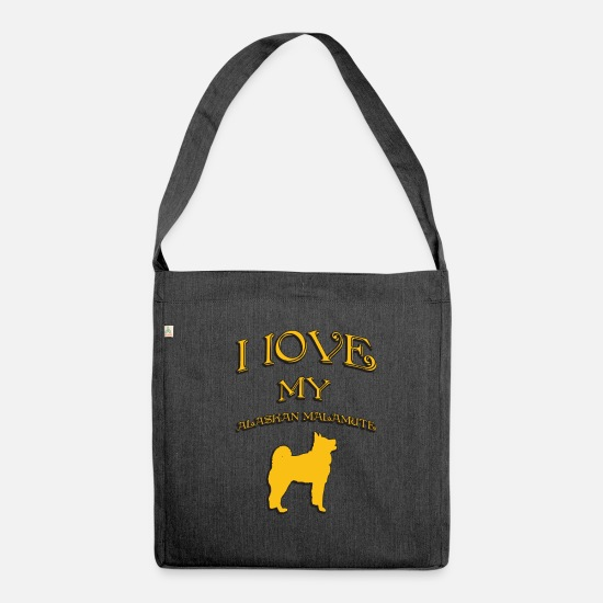 Alaskan Malamute Bags & Backpacks - I love my dog Alaskan Malamute - Shoulder Bag recycled heather black