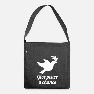 Primatista givepeaceachance wite - Borsa in materiale riciclato