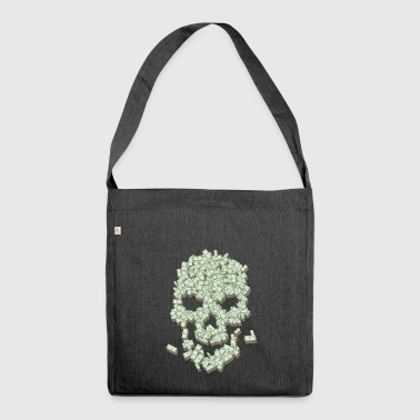 Skull from dollar bills - Shoulder Bag made from recycled material
