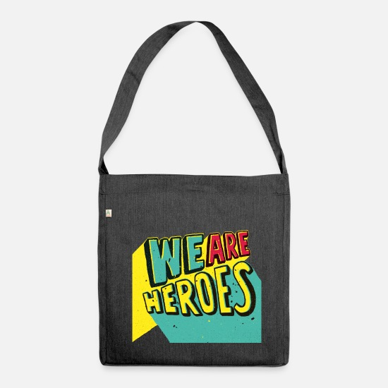 Team Bags & Backpacks - we are heroes - Shoulder Bag recycled heather black