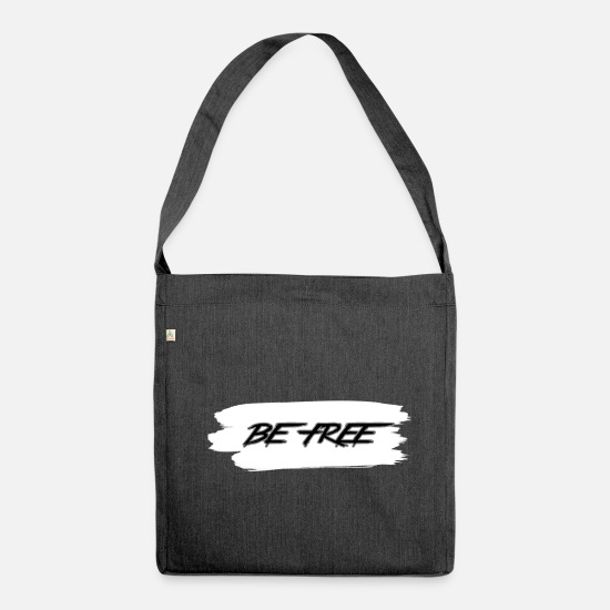 Gift Idea Bags & Backpacks - Be free - Shoulder Bag recycled heather black