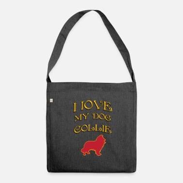 Dogwalking I LOVE MY DOG Collie - Shoulder Bag recycled