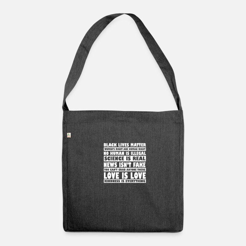 Illegal Bags & Backpacks - Black life is important. Women's rights are Mensc - Shoulder Bag recycled heather black