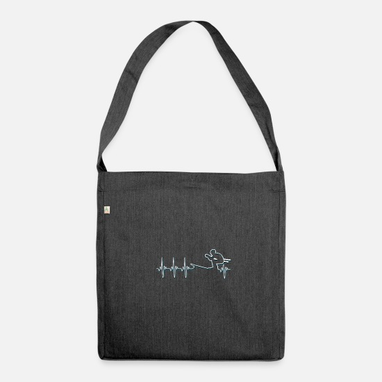 Gift Idea Bags & Backpacks - Ski heartbeat ski slope Pistensau gift - Shoulder Bag recycled heather black