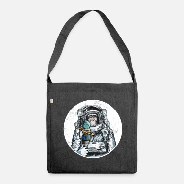 Gorilla Monkey astronaut chimpanzee moon animal ice space - Shoulder Bag recycled