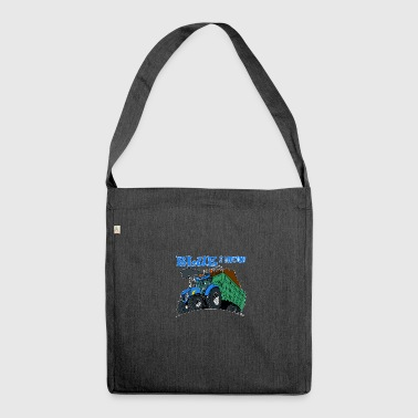 Blue in motion border - Shoulder Bag made from recycled material