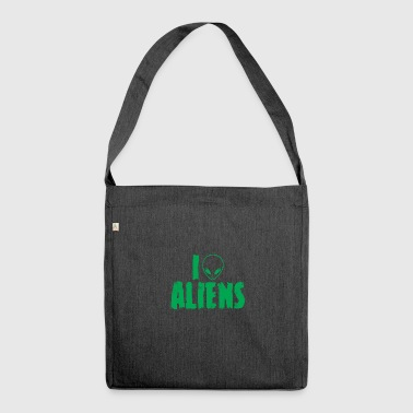 Alien / Area 51 / UFO: I Love Aliens - Shoulder Bag made from recycled material