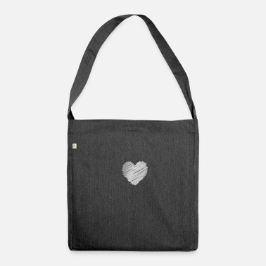 Silver silver heart - Shoulder Bag recycled