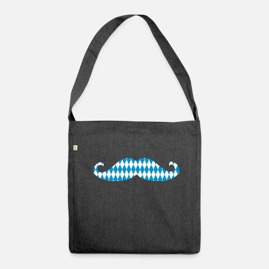 Tent Bags & Backpacks - Mustache Oktoberfest Beard Mustache Mustache 2c - Shoulder Bag recycled heather black