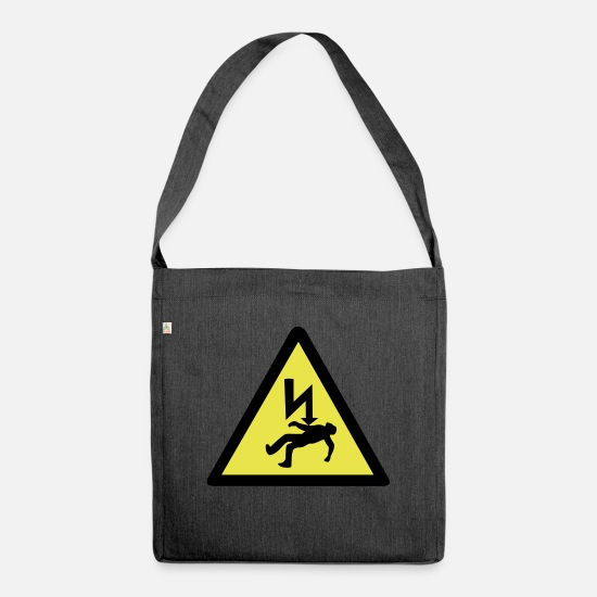 Surveillance State Bags & Backpacks - Danger of Electric Shock - Shoulder Bag recycled heather black