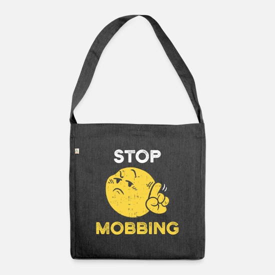 Gift Idea Bags & Backpacks - Stop bullying help campaign against bullying emoticon - Shoulder Bag recycled heather black